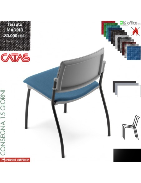 TEOREMA sedia impilabie schienale in polipropilene 4 gambe verniciato nero rivestimento tessuto MADRID class 1IM