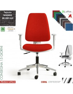 Masha sedia operativa contatto permanente cover bianchi base acciaio cromato rivestimento tessuto Madrid class 1 IM