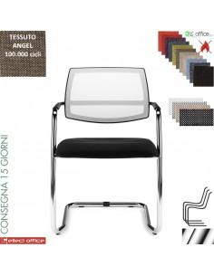 JOLLY sedia attesa con telaio cromato sedile imbottito schienale rete rivestimenti tessuto ANGEL Class 1 IM