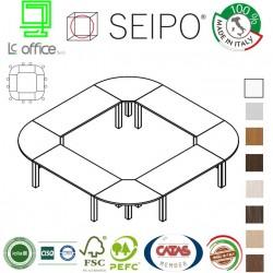 Tavolo riunione quadrato 12 posti stutture metalica