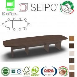 Tavolo riunione sagomato 10 posti con piano struttura legno