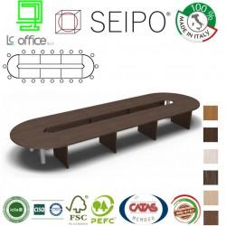 Tavolo riunione ovale 20 posti strutture legno