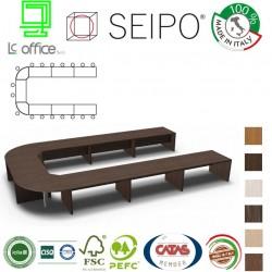 Tavolo riunione ovale 18 posti strutture legno