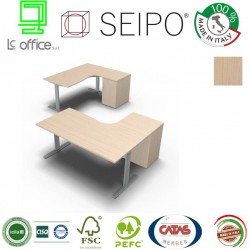 T-Leg Workstation Rovere Chiaro DX-SX con mobile portante con anta