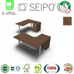 T-Leg Workstation Rovere Tabacco DX-SX con mobile portante con anta