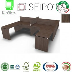 Panel Scrivania benches noce scuro