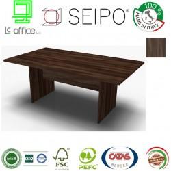 Panel Tavolo Olmo Scuro monoblocco e lineare con strutture ponte