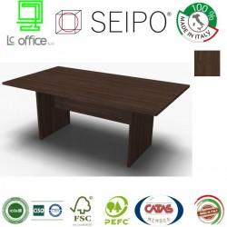 Panel Tavolo Noce Scuro monoblocco e lineare con strutture ponte