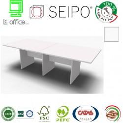Panel Tavolo Bianco a due pezzi e lineare con strutture ponte