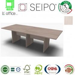 Panel Tavolo Olmo Chiaro a due pezzi e lineare con strutture ponte