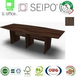 Panel Tavolo Olmo Scuro a due pezzi e sagomato con strutture ponte