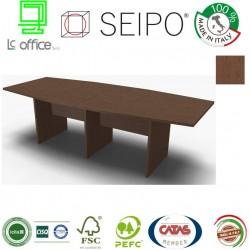 Panel Tavolo Rovere Tabacco a due pezzi e sagomato con strutture ponte