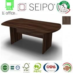 Panel Tavolo  Olmo Scuro monoblocco e ovale con strutture ponte