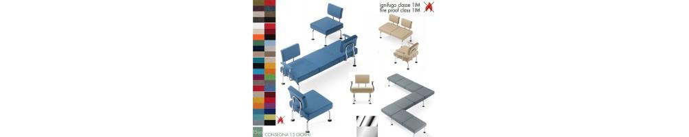 Sedie e poltrone per sala d'attesa con rivestimento ignifugo
