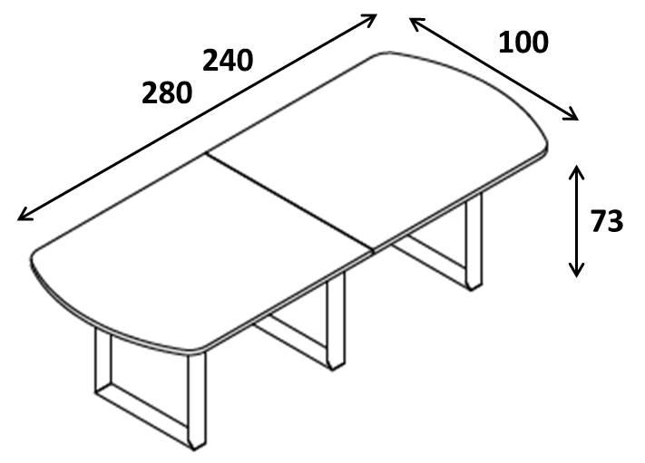 Tavolo riunione ovale XL Ring strutture annelo Profondita 100 L240 280