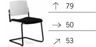TEOREMA sedia impilabie schienale in polipropilene slitta verniciato nero rivestimento tessuto MADRID class 1IM
